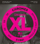 ECB81 Chromes Комплект струн для бас-гитары, Light, 45-100, Long Scale, D'Addario